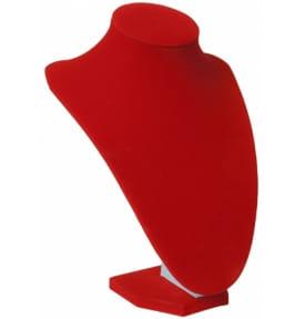 Подставка Бюст под украшения красный бархат ПБ-12