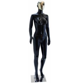 Манекен женский черный глянец с золотым лицом, пластик, QJ-03B(black)